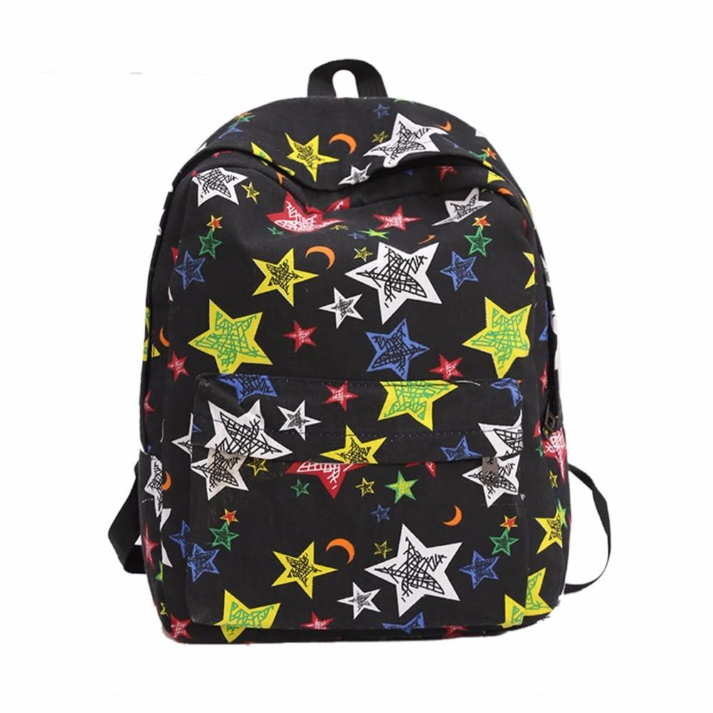 New Fashion Printing Canvas Backpack Cartoon Print Schoolbag Women Travel Shoulder Bag Laptop Graffiti Bolsa Mochila