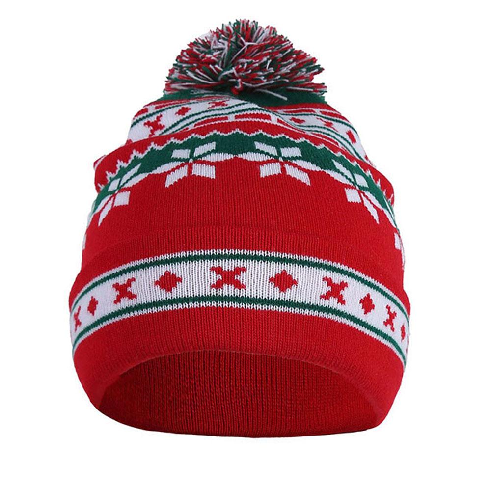 a54b5c4162b 2018 Men Women Warm Fashion Knitted Pompom Cap Snowflake Baggy Beanie  Winter Hat Ski Slouchy Red