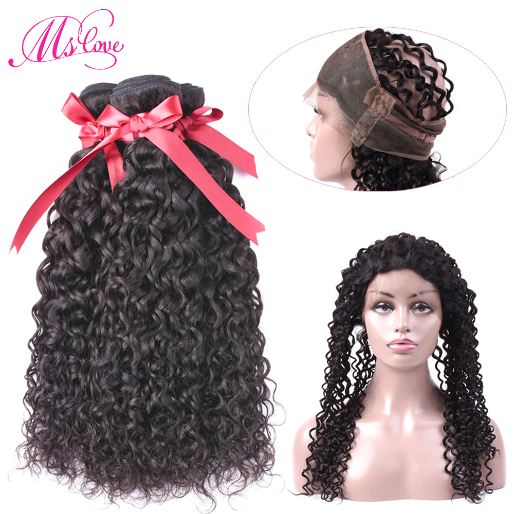 Ms Love Hair Malaysian Water Wave Bundles With Closure 360 Lace Frontal With Bundle Human Hair