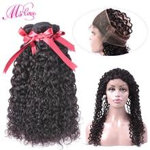 Ms Love Hair Malaysian Water Wave Bundles with Closure 360 Кружева с фронтальной связкой с пучками человеческих волос с закрытием Non Remy