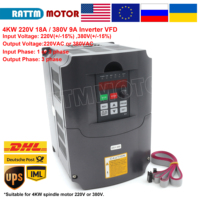 4 кВт 220 В/380 В Инвертор VFD 3 фазы преобразователь выходных частот Регулируемая скорость 400 Гц 18A/9A контроль скорости