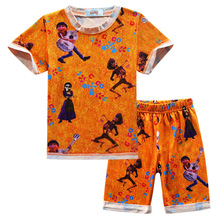 Купить с кэшбэком Explosion children's pajamas sets Coco Music Tour cartoon boys girls home pajamas Short sleeve children's sets two-piece suit