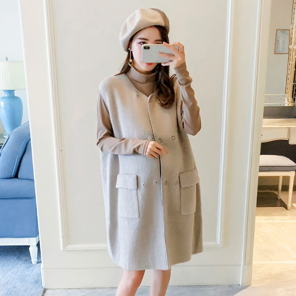Maternity Autumn pregnant women vest jacket Girls long section of the Spring and Autumn 2018 new Korean loose sleeveless jacket Maternity Autumn pregnant women vest jacket Girls long section of the Spring and Autumn 2018 new Korean loose sleeveless jacket