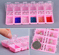 Professional 3d nail art decorations glitter storage box Plastic Acrylic Gems Empty 12 grids storage case