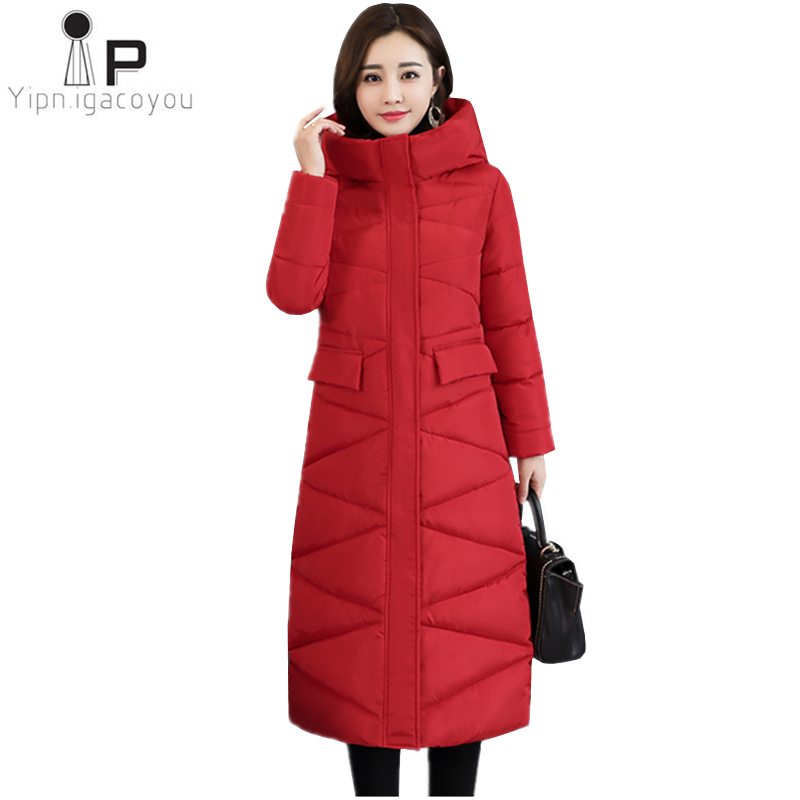 Long Winter Warm Coat Women Overcoat 2019 Korean New Slim Black Thicken Hooded Women's Down Jacket Fashion Ladies   Parka   Jacket