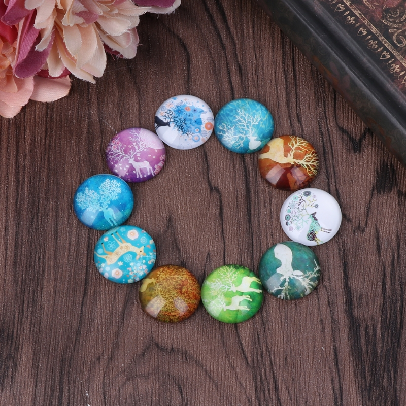 10Pcs Mixed 12/20mm Photo Image Deer Round Glass Cabochon Dome Flat Back Cover