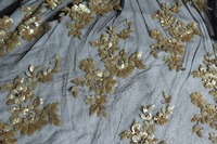Gold Sequin Embroidered Floral Mesh Lace Fabric Wedding Table Cloth Photography Backdrop Wedding Table Runner Sqf001