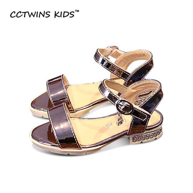 CCTWINS CRIANÇAS 2017 de Verão para Crianças Criança Mary Jane Plana Pu Sandália De Couro Da Moda Strass Rosa Bebê Menina Sapato Marca B708