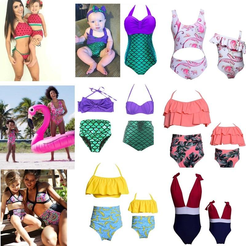 Familie Passenden Bademode Mutter und tochter Bikini Kleidung Mermaid Floral Familie Aussehen Mutter und Tochter Badeanzug Outfit Frauen