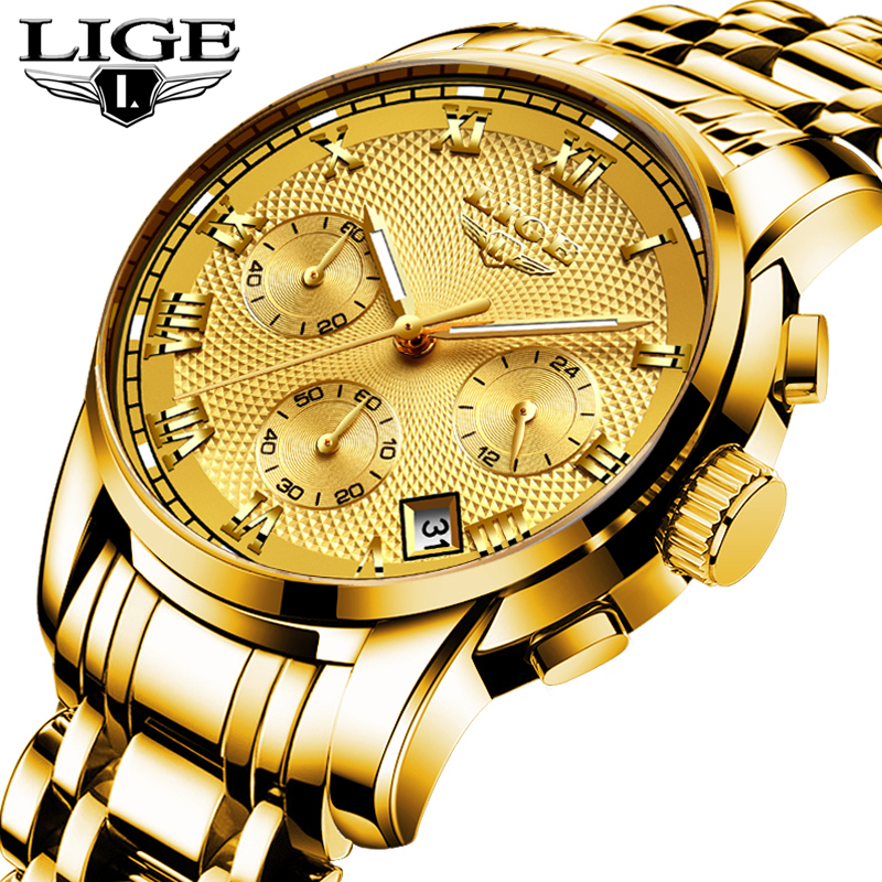LIGE Fashion Watch Men Sport Quartz Clock Mens Watches Top Brand Luxury Full Steel Waterproof Gold Wrist Watch Relogio Masculino chenxi full gold watch mens watches top brand luxury waterproof quartz watch clock steel wrist watches for men relogio masculino