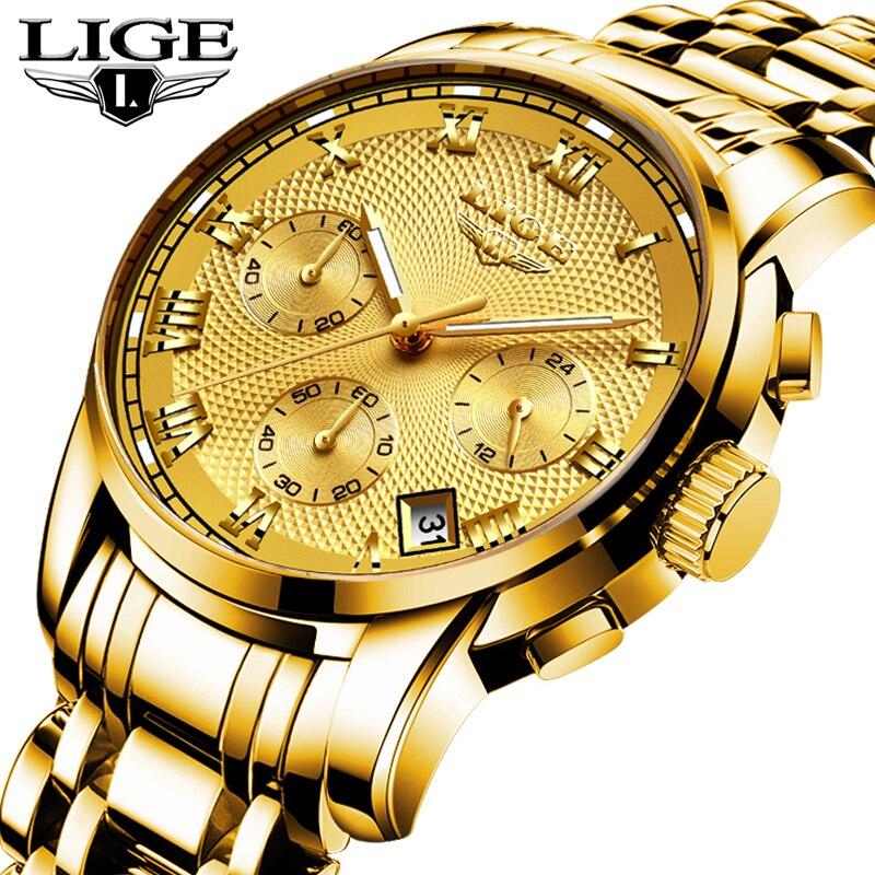 LIGE Fashion Watch Men Sport Quartz Clock Mens Watches Top Brand Luxury Full Steel Waterproof Gold Wrist Watch Relogio Masculino