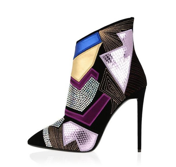 Fashion Colorful Mixed Leather Ankle Boots Pointed Toe Side Zipper Crystal Embellished Ankle Boots Woman Thin Heel Dress Shoes цены онлайн