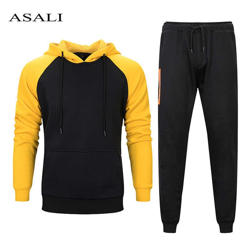Набор мужского спортивного костюма, зимняя флисовая куртка с капюшоном, штаны, спортивный костюм, Мужская одежда, осенняя повседневная спортивная одежда из двух предметов, мужской спортивный костюм