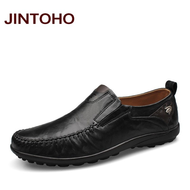JINTOHO big size 37-46 men mocassins shoes fashion casual genuine leather men loafers slip on male flats shoes mocasines hombre