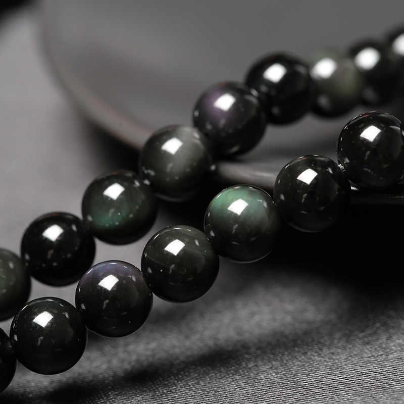 6mm 8 milímetros Obsidian Dragão Phoenix Padrão Pedra Frisado Pulseira Amantes de Transferência de Sorte Bracelet & Bangle Jóias Presente