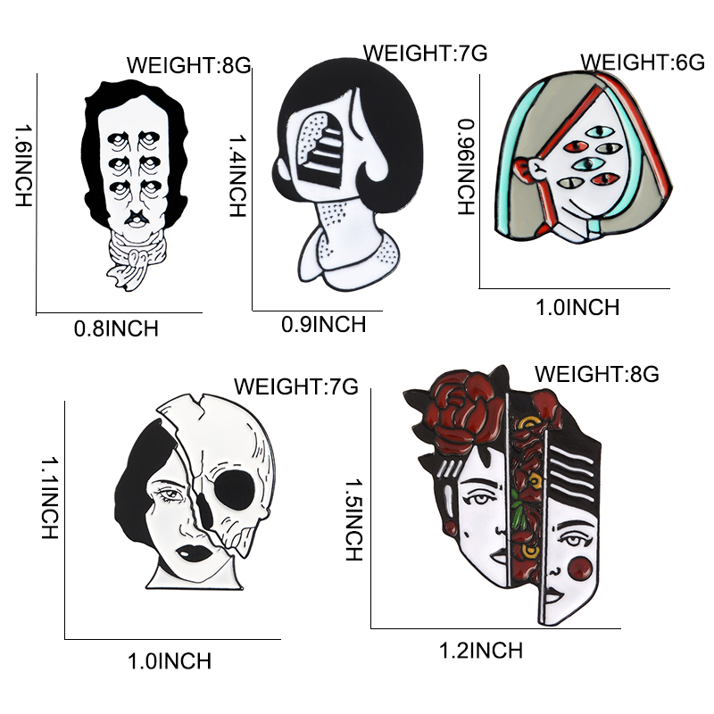 Halloween Split Face Lapel Pins 2