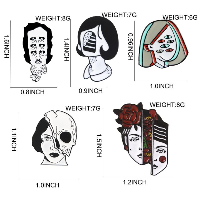 Halloween Split Face Lapel Pins 2