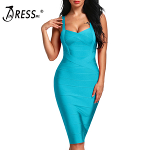 Image 3 - INDRESSME 2020 المرأة ميدي ضمادة فستان مثير السباغيتي حزام Bodycon نادي فساتين الحفلات Vestidos بالجملة