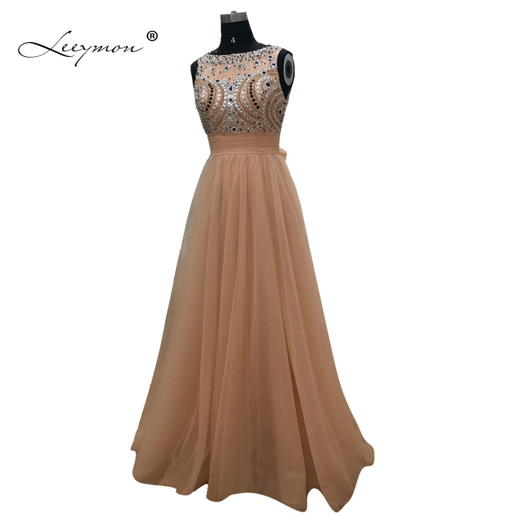 Leeymon Luxury Rginestones Evening Dress Long 2017 Orange V Back Evening Gown Formal Dress For Party RE24