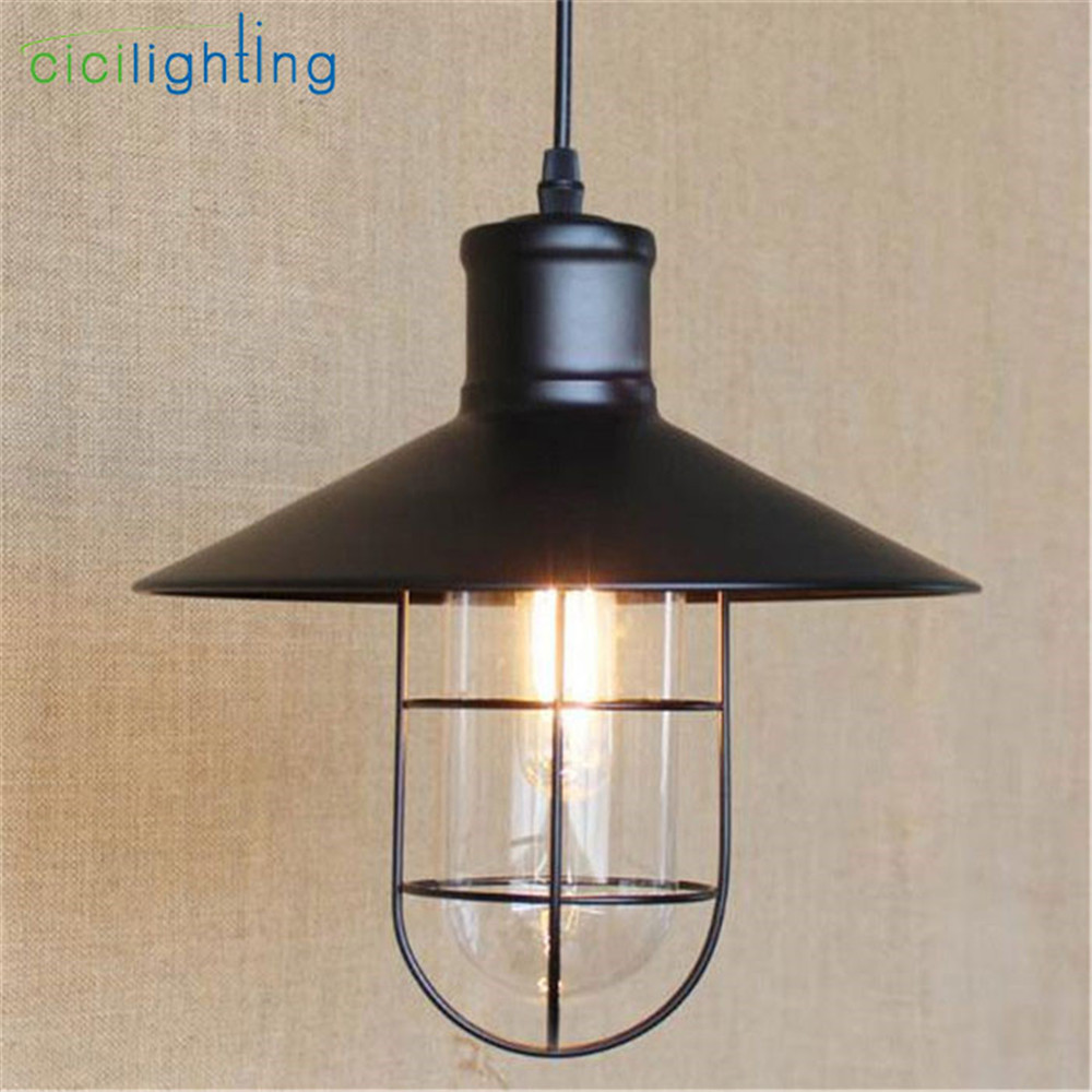 Vintage Iron Pendant Light Industrial Lamps E27 Cage Pendant Lamp Hanging Lights Fixture With Glass Guard Indoor Lighting new loft vintage iron pendant light industrial lighting glass guard design bar cafe restaurant cage pendant lamp hanging lights