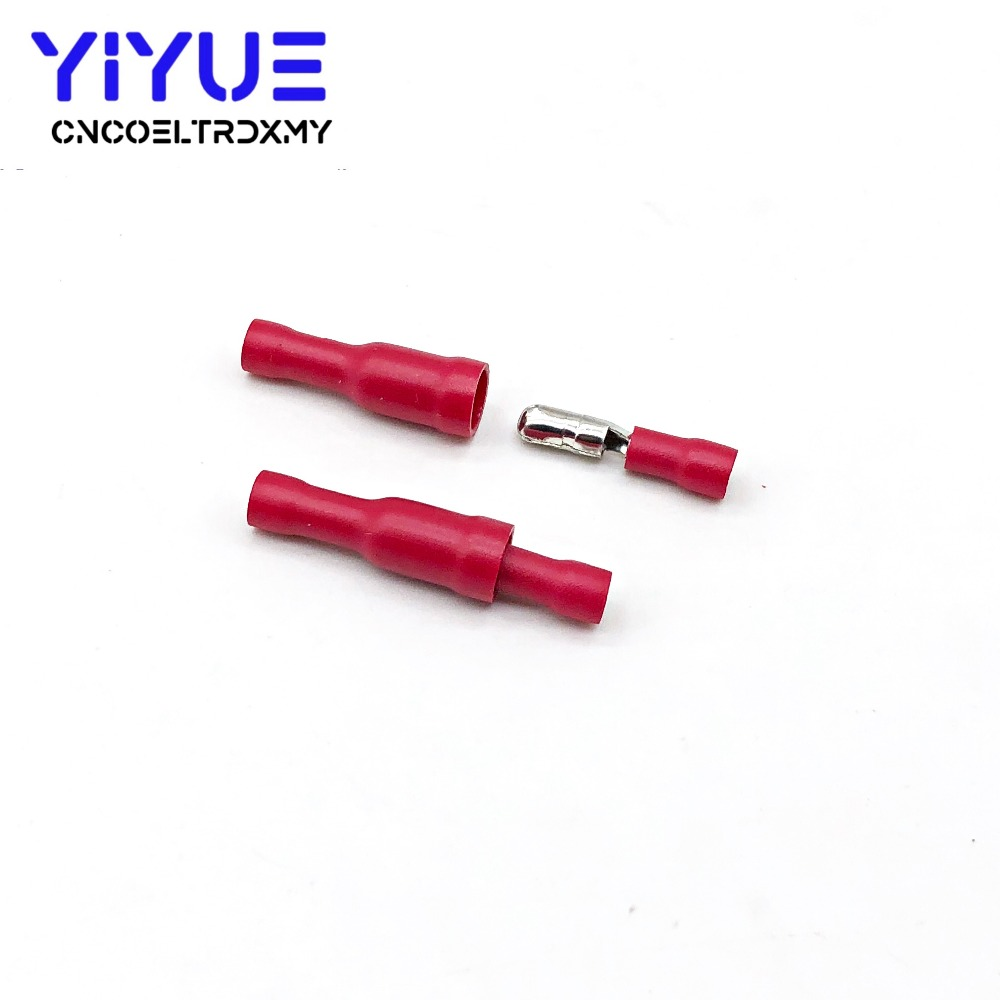 50 100pcs Red Male Female Bullet Insulated Connector Crimp Terminal Wiring Cable Plug FRD1 25 156 FRD1 156 MPD1 25 156 MPD1 156 in Terminals from Home Improvement