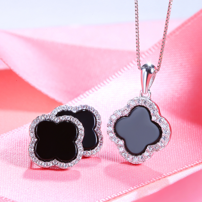 Sinya 925 sterling silver four leaf Agate Stones earring necklace set for women pink black color optional Fine jewelry Hotsale hotsale 10pcs set pink