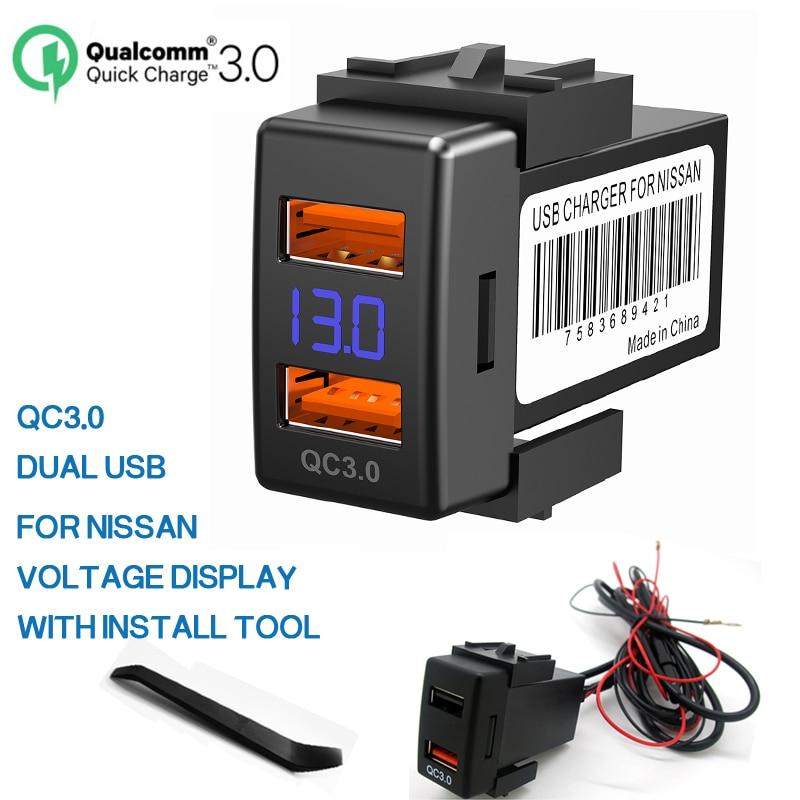 Cargador de Coche de Pantalla LED Dual USB Adaptador de Carga R/ápida para Tel/éfono M/óvil