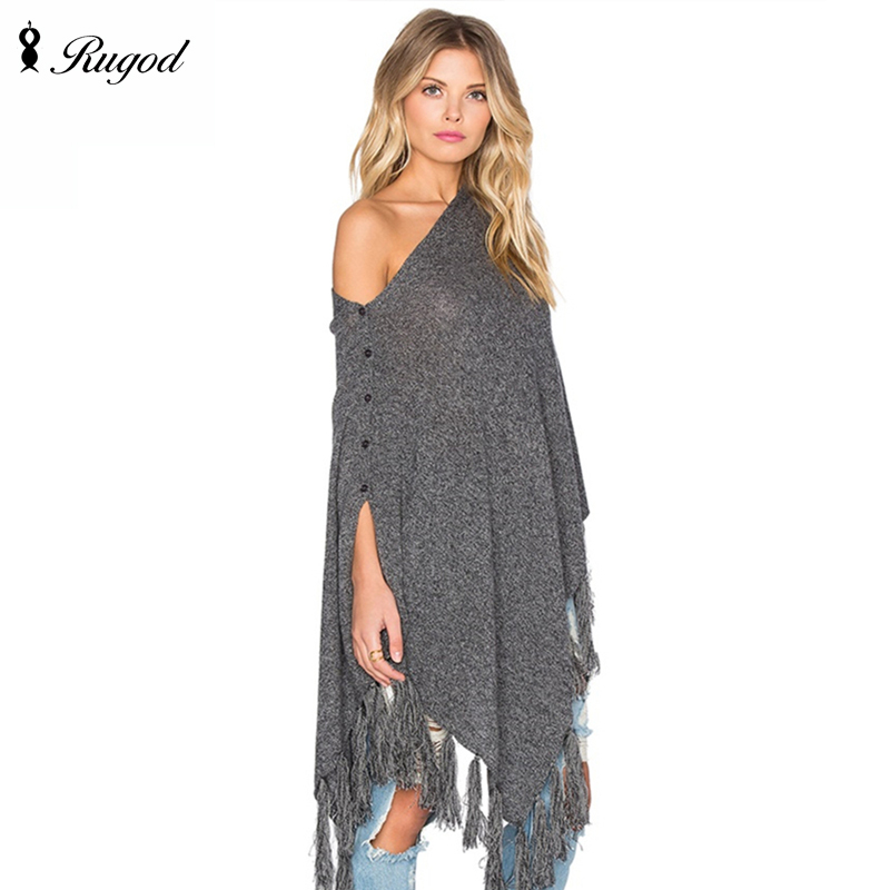2017 New Winter Women Duplex Overwear Coat Oversized Knitted Batwing Asymmetrical Poncho Capes Shawl Cardigans Sweater Tassel