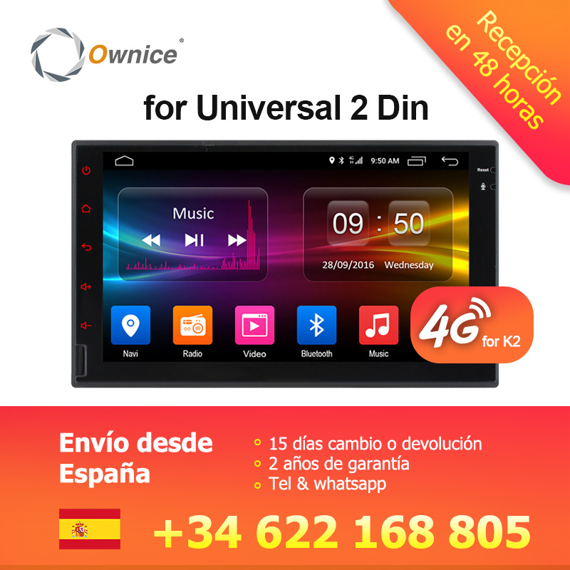 Ownice K1 K2 2G RAM Восьмиядерный android 6,0 Поддержка 4G SIM сети LTE DAB + Радио 2 din универсальный dvd-плеер автомобиля gps Navi DVD