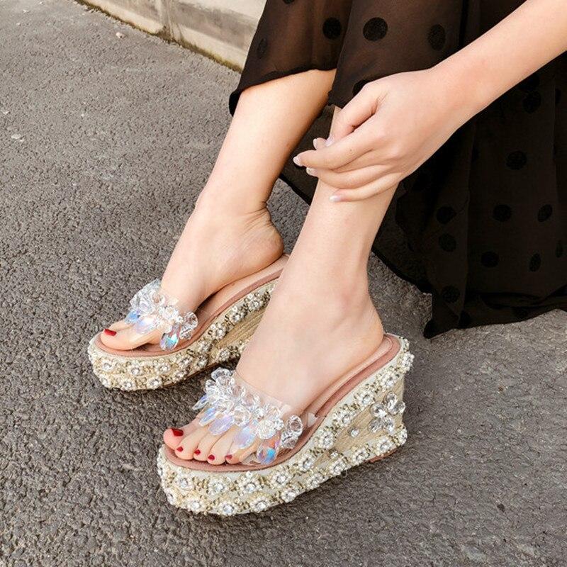 Flambant neuf Strass sandales femmes chaussures compensées Mode sandales à plateforme talons hauts Transparent Chaussures D'été Femmes Pompes