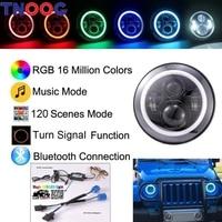 TNOOG 2PCS DOT E9 Bluetooth Control 40W 7 Hi Lo Beam RGB Led Halo Headlight For