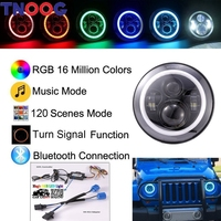 TNOOG 2PCS DOT E9 Bluetooth Control 40W 7 Hi Lo Beam RGB Led Halo Headlight For