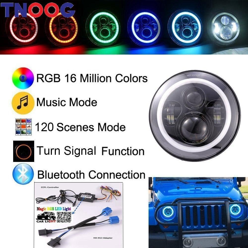 TNOOG 2PCS DOT E9 Bluetooth Control 40W 7  Hi/lo Beam RGB Led Halo Headlight For Wrangler UAZ Hunter  Lada Niva 4x4 Urban h4 7 led headlights with led car canbus led chip 80w 8000lm 6000k hi lo led driving light for off road uaz lada