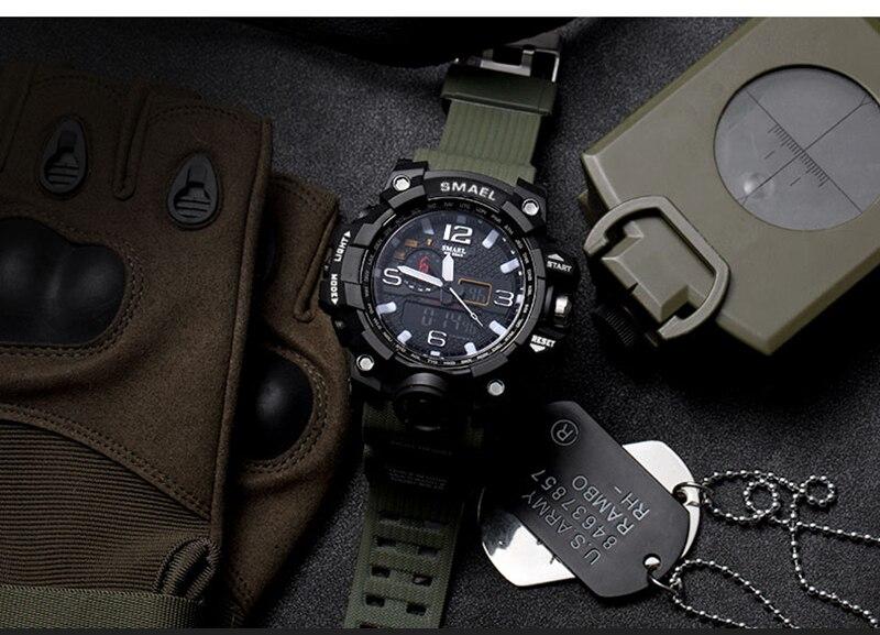 SMAEL 2019 Men's Sport Wrist Watch Military Waterproof Man Dual Display Analog Digital Watch electronic Clock erkek kol saati (9)