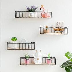 Nordic bezramkowe ściany półka żelaza wiszący kosz w domu łazienka dekoracja kuchenna rozmaitości półki na regały magazynowe Art Board uchwyt na