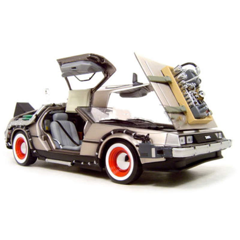 Toys for children 1/18 Scale diecast Alloy Car Toy  back to future 2 delorean DMC-12 scifi car model maisto jeep wrangler rubicon fire engine 1 18 scale alloy model metal diecast car toys high quality collection kids toys gift