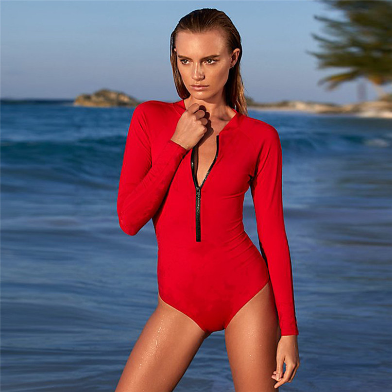 Women Surfing & Beach T-shirts Open Back V-neck zipper Swimsuits Ladies Beach Water Sports Sexy Long sleeve Vest jumpsuit  (6)