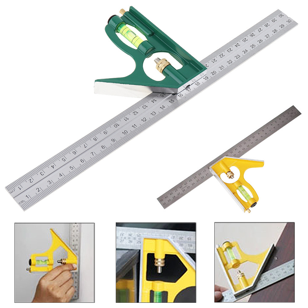 12 Inch 300mm Adjustable Combination Square Angle Ruler 45 / 90 Degree With Bubble Level Multifunctional Gauge Measuring Tools