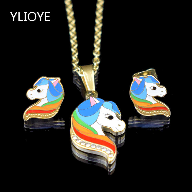 Cartoon Animal Rainbow Unicorn Stainless Steel 100% Golden Plated Necklace Earrings Set 6 Patterns Woman, Man, Child Jewelry Set