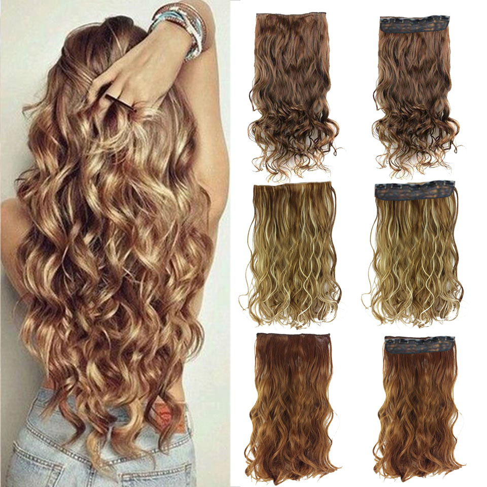 DIFEI 24 Inches Clip On Wire Fish Line Hair Extensions Secret Invisible Wire One Piece For Ombre Hair Synthetic Hairpiece