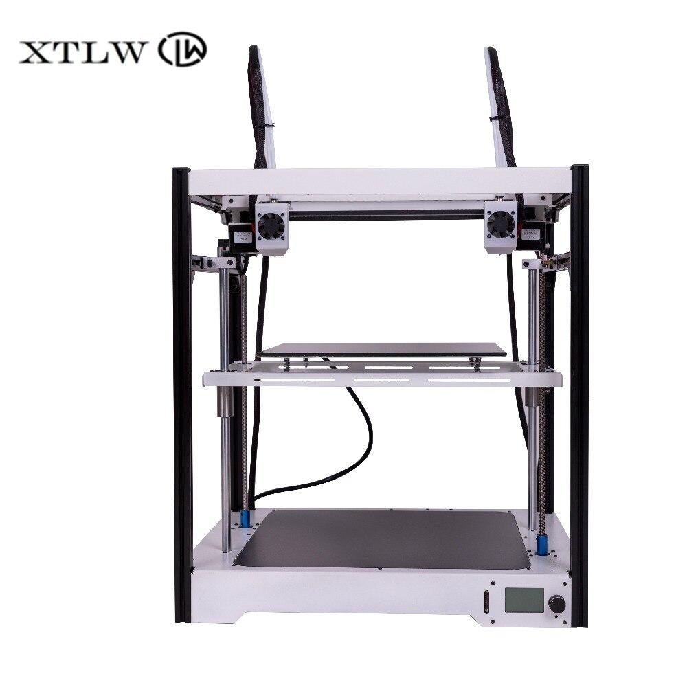 Date Double Extrudeuse 3D imprimante Indépendant Double Extrudeuse Grande taille châssis En Tôle de Haute Qualité Précision DIY kit LCD