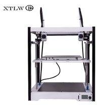 Новый двойной экструдер 3D принтер независимых двойной экструдер Большой размер с металлической оправой высокое качество точность DIY kit ЖК-дисплей