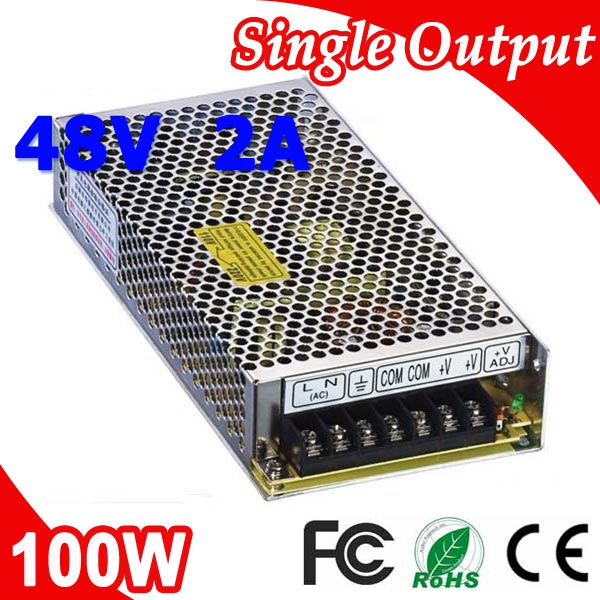 S-100-48 100W 48V 2A Single Output LED Switching Power Supply Transformer 220V AC to 48V DC 1pcs 100w 48v 2a switching power supply input 100 240vac for led strip light ac to dc power suply 100w power supply s 100 48