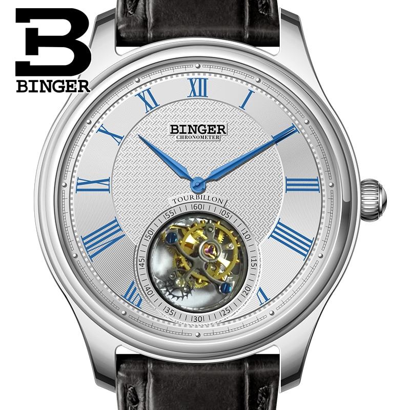 Lujo Suiza BINGER relojes hombres Gaviota automática Movemt reloj masculino Tourbillon zafiro Alligator ocultar mecánico B80803-1