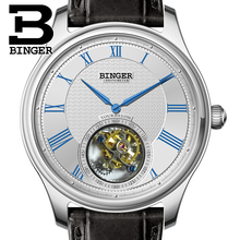 Luxury Switzerland BINGER Watches Men Seagull Automatic Movemt Watch Male Tourbillon Sapphire Alligator Hide Mechanical 80803-1