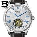 Suíça BINGER Relógios Homens de luxo Jacaré Esconder Movemt Gaivota Automático Relógio Masculino Turbilhão de Safira Mecânica B80803-1