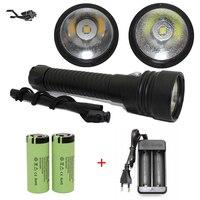 Bijgewerkt LED Zaklamp Duiken CREE XHP70 4200 Lumen Geel Licht Onderwater 100 M Waterdichte Scuba Torch 26650 Acculader