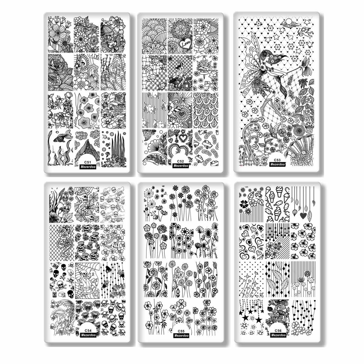 เล็บ Jelly Stamper สี่เหลี่ยมผืนผ้าแผ่นชุดความงามภาพสแตนเลสแม่แบบ 3D Charm Stencil เล็บ Art ดอกไม้ Designs
