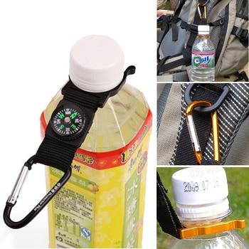 Accesorios de viaje deportes al aire libre hebilla de tetera botella de agua mosquetón titular Camping senderismo brújula gancho de goma de alta calidad