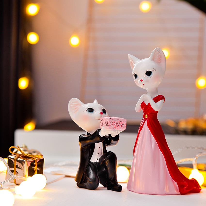 Cute Love cat couple Arts and Crafts Resin Craft teraryum fairy garden miniatures Propose Lovers home decoration wedding gifts